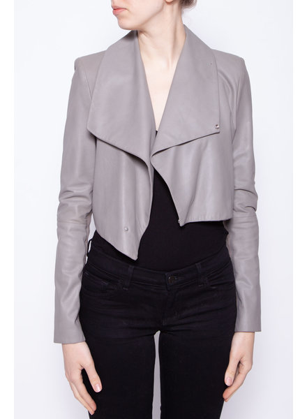Lamarque GREY CROPPED LEATHER JACKET - NEW WITH TAGS
