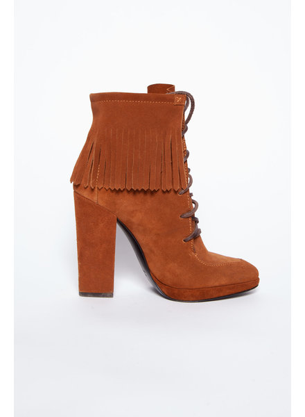 Giuseppe Zanotti Design CAMEL HIGH HEEL ANKLE BOOTS WITH FRINGING