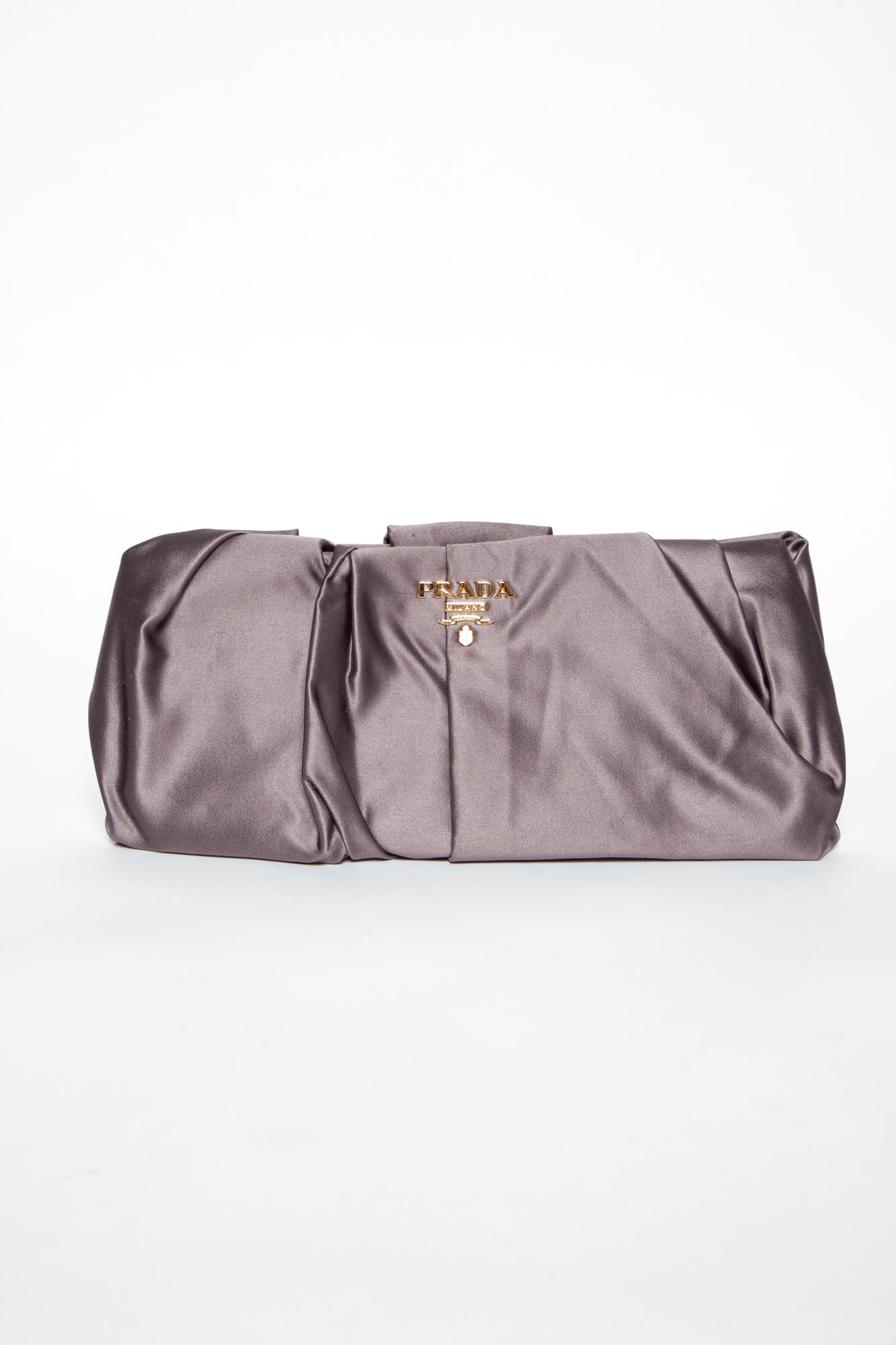 Prada GREY SATIN CLUTCH