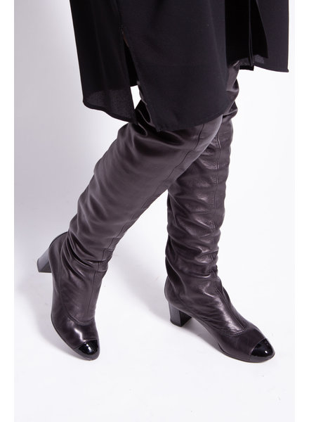 Chanel CHANEL CC CAP TOE OVER THE KNEE LEATHER HIGH BOOTS