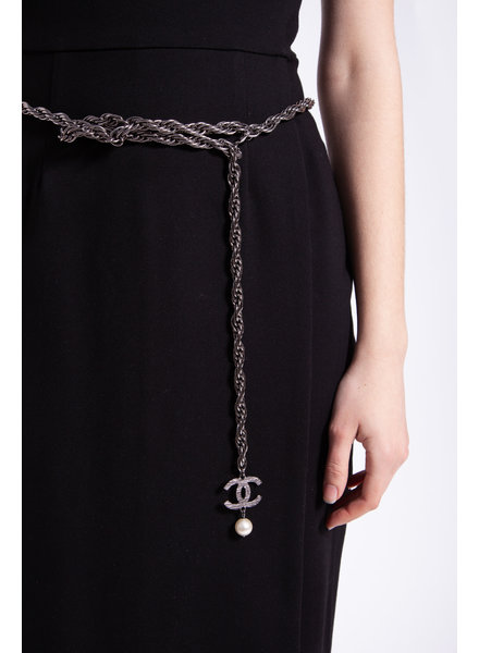 Chanel CC METALLIC CHAIN BELT WITH PEARL