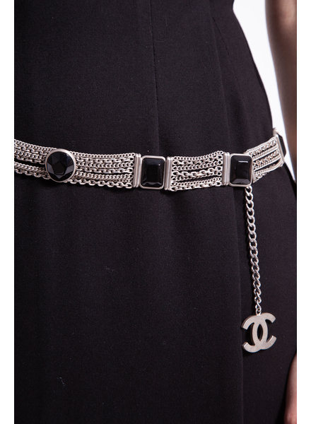 Chanel CC METALLIC & BLACK GEM BELT