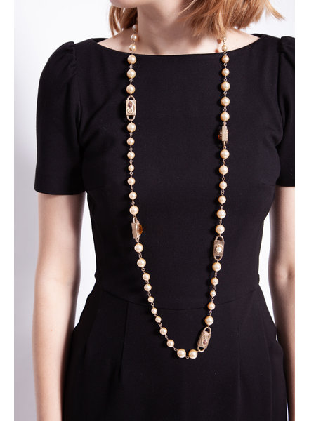 Chanel FAUX PEARL & GOLDEN CHARM NECKLACE
