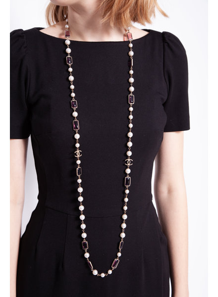 Chanel WHITE FAUX PEARLS & BURGUNDY GEM NECKLACE