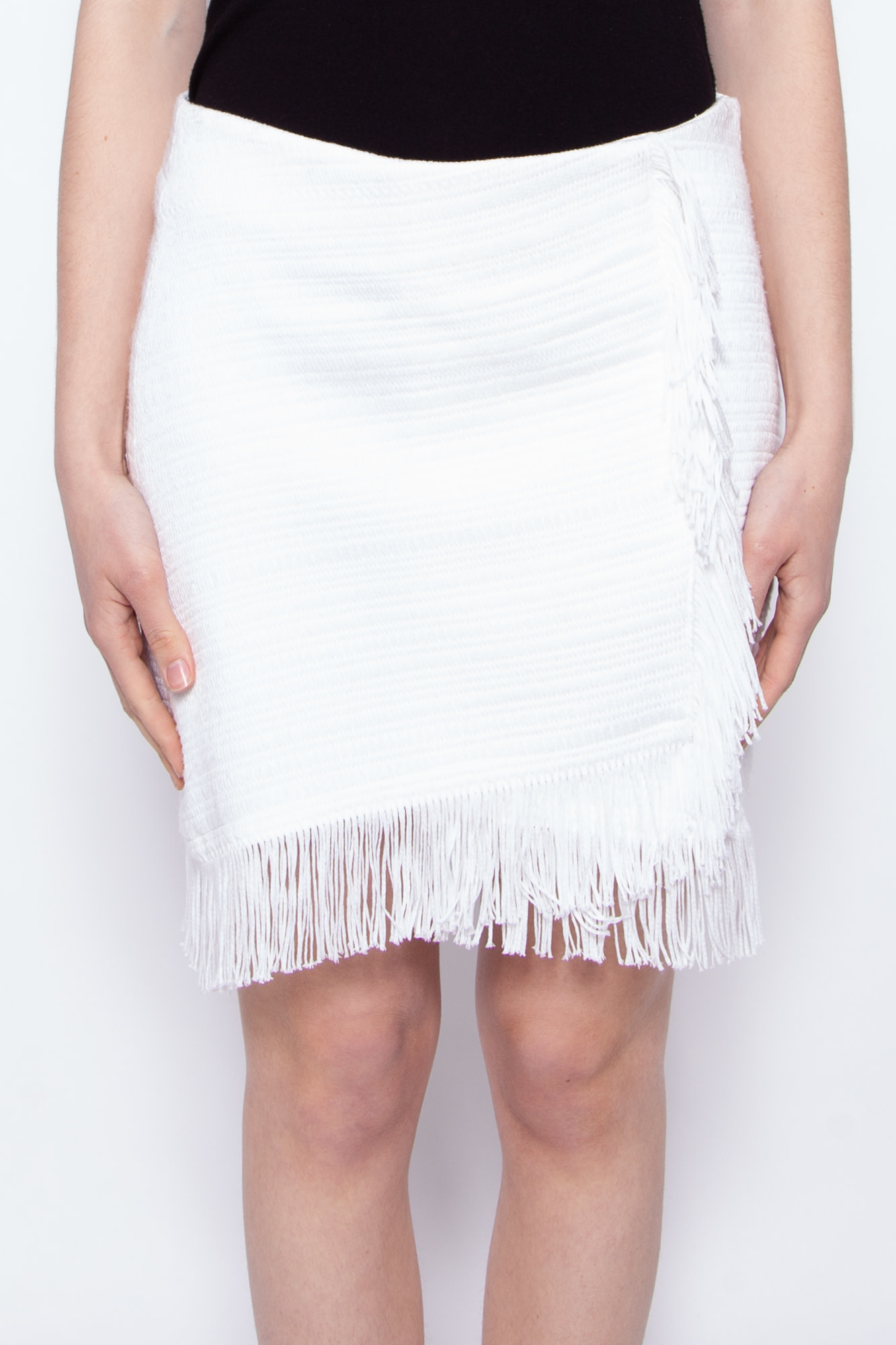 Ecru WHITE SKIRT WITH FRINGES -  NEW WITH TAG