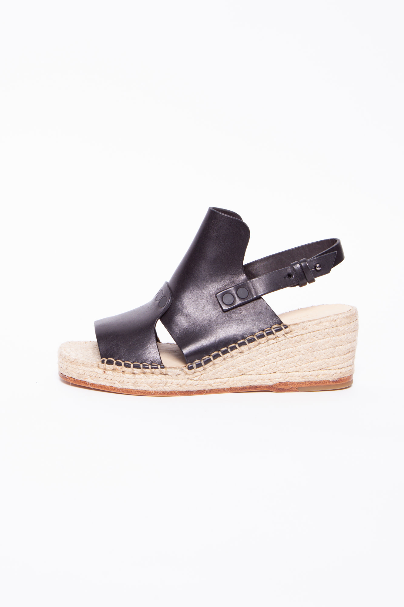 Rag & Bone BLACK LEATHER ESPADRILLES