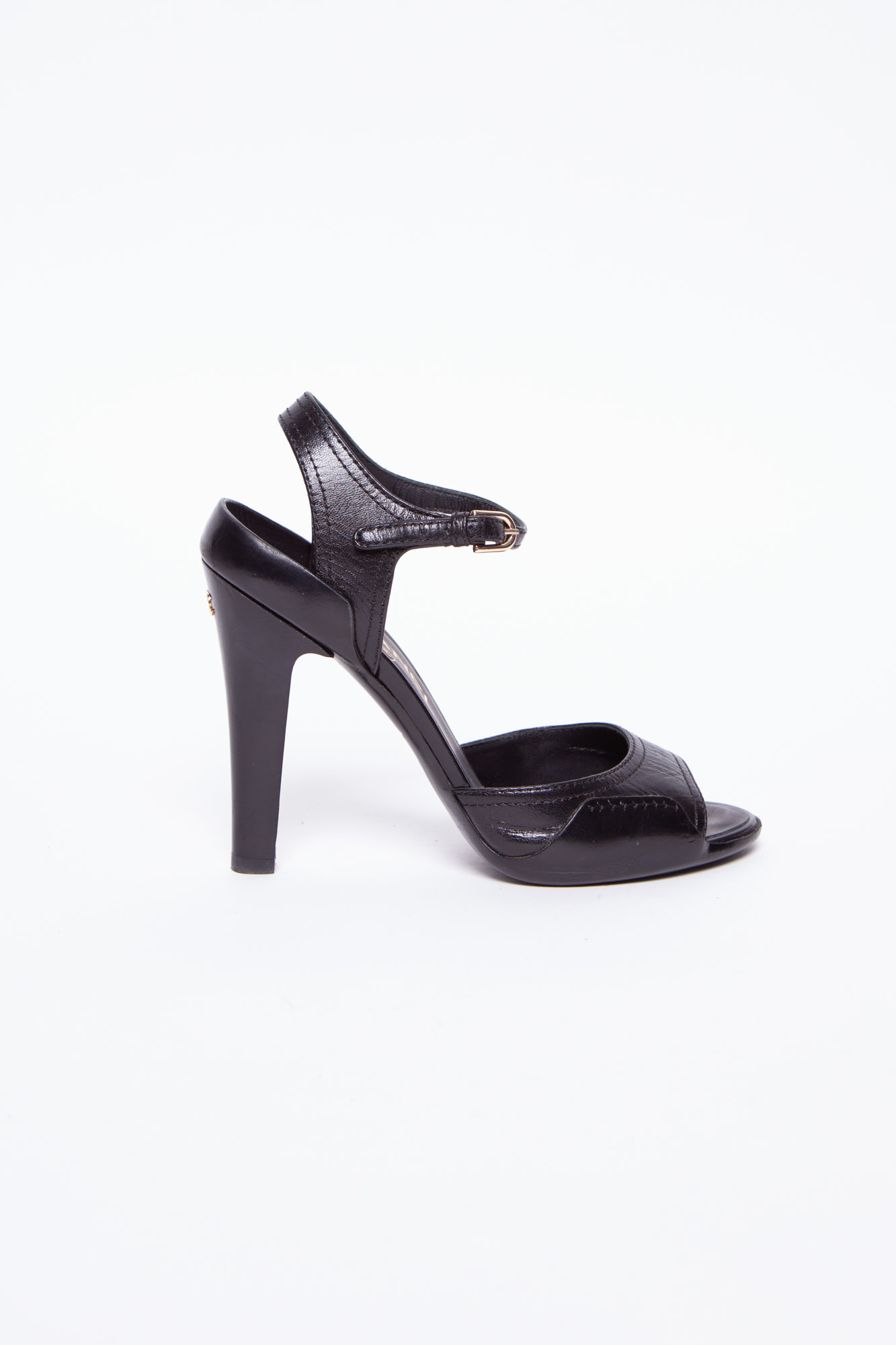 Chanel BLACK LEATHER HIGH HEELS SANDALS