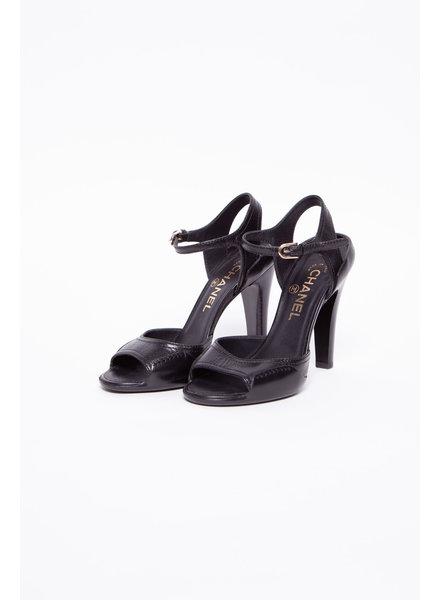Chanel BLACK LEATHER HIGH HEELS SANDALS