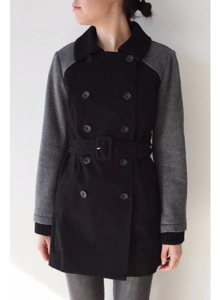 Splendid SALE- BLACK AND GRAY MID-LENGTH COAT
