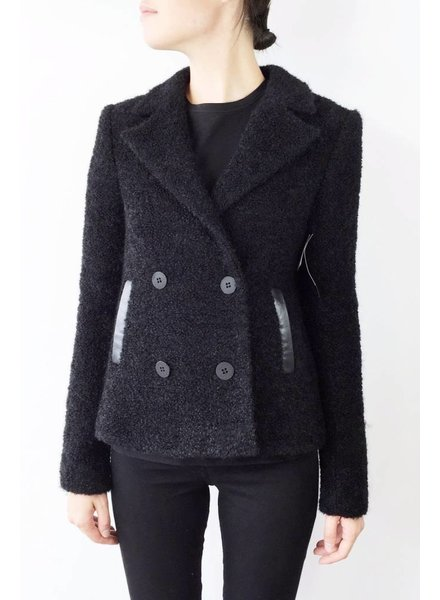 Karl Lagerfeld ON SALE - WOOL BLACK COAT WITH LAMB LEATHER - NEW