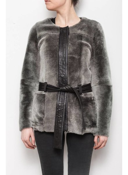 Designers Remix - Charlotte Eskildsen SALE - LEATHER AND FAUX FUR COAT