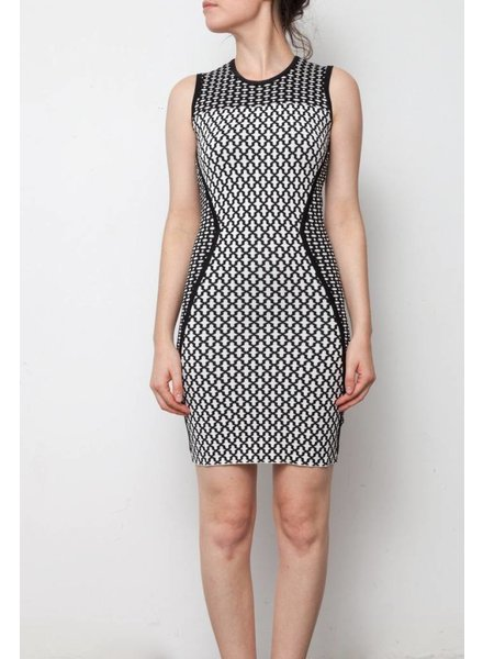 Torn by Ronny Kobo ON SALE - BLACK AND WHITE BODYCON DRESS