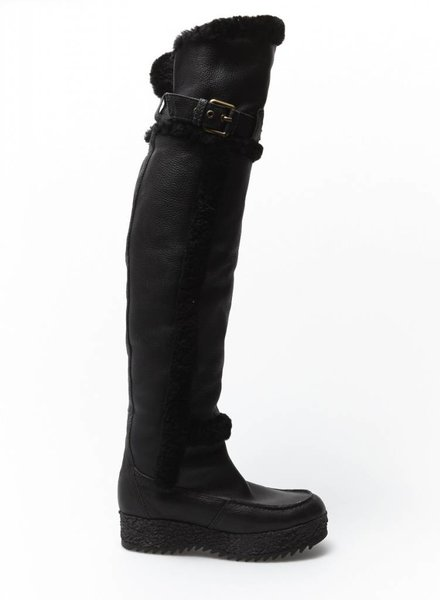 Hunter BLACK LEATHER AND FUR HIGH BOOTS