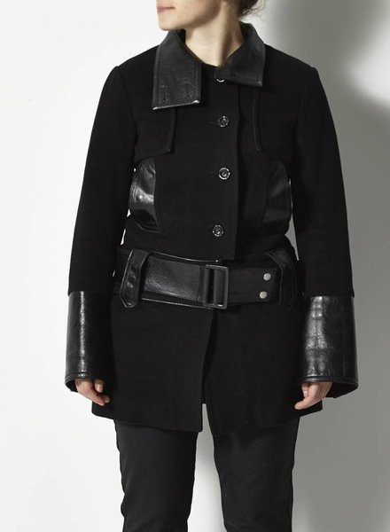 Rudsak BLACK COAT WITH TOOL AND LEATHER