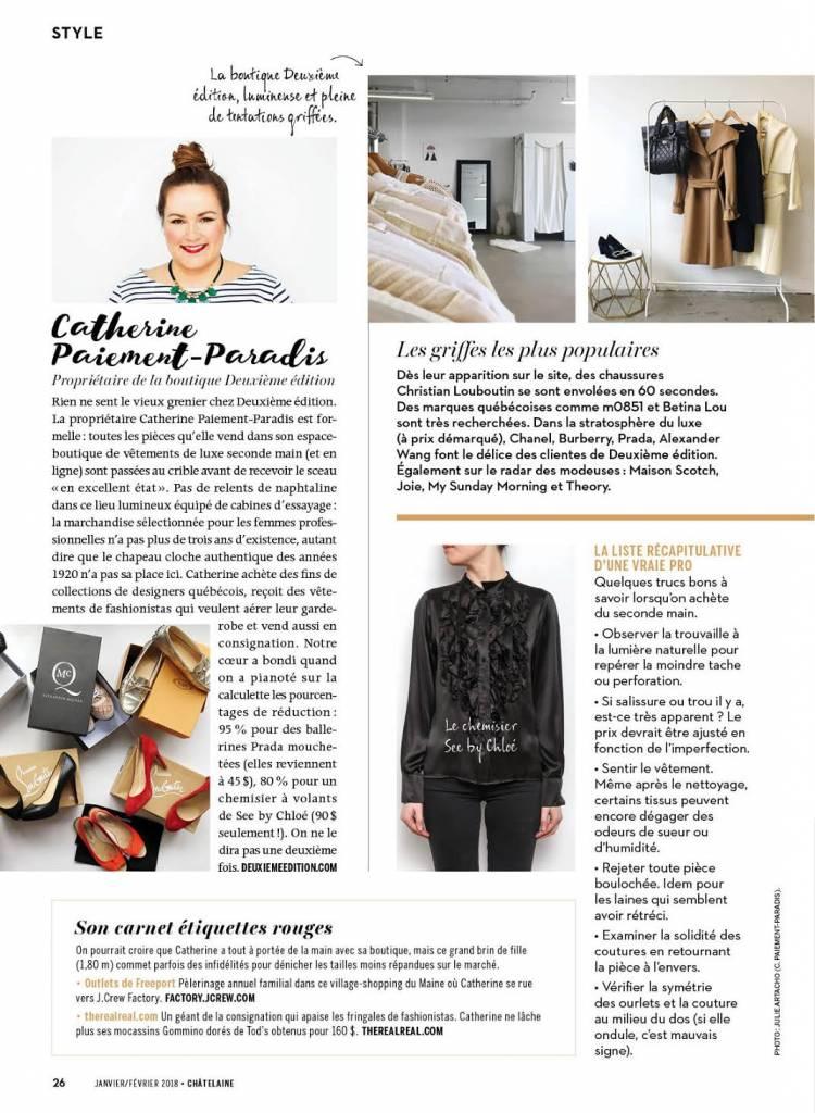 On parle de nous dans le magazine Châtelaine!