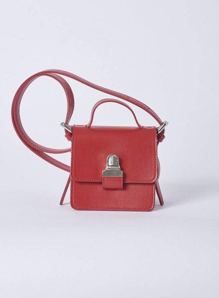 MM6 Maison Margiela SMALL RED LEATHER HANDBAG