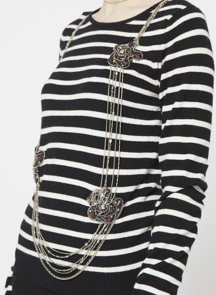 Chanel WHITE AND BLUE STRIPED CASHMERE TOP WITH CHAINS AND JEWELS