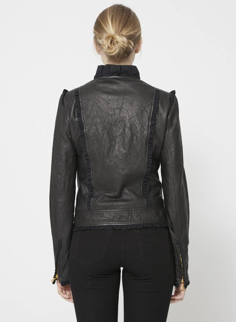 Manteau noir en cuir à froufrous - Dolce   Gabbana - Deuxième édition d38f9c067d46