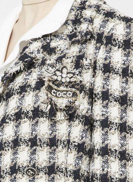 Chanel VESTON PIED-DE-POULE À DOUBLURE BLANCHE