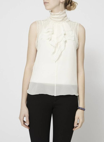 Chanel SLEEVELESS OFF-WHITE SILK BLOUSE