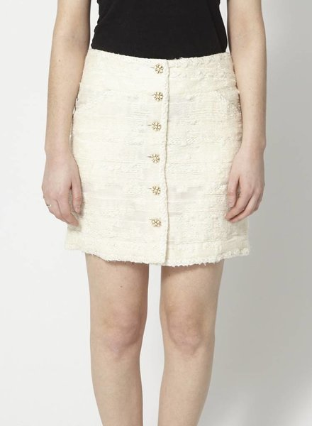 Chanel SILK AND WOOL OFF-WHITE SKIRT WITH JEWEL BUTTONS