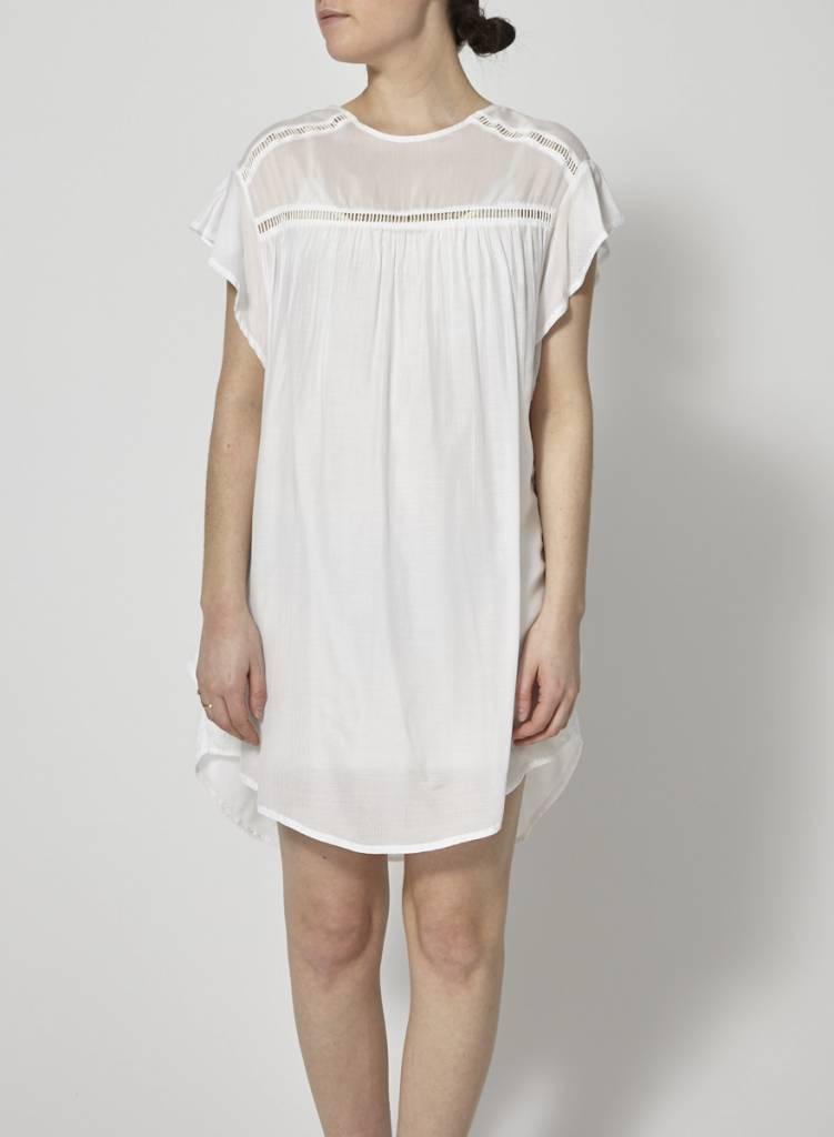 Faithfull The Brand Robe diaphane blanche à volants