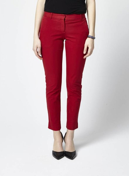 Theory RED CROPPED STRAIGHT TROUSERS