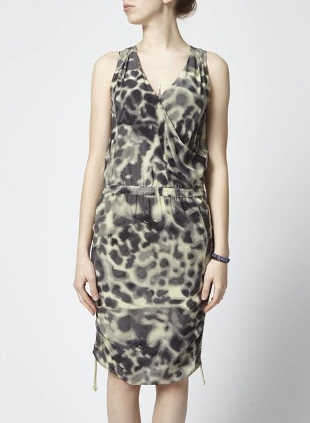 Designers Remix - Charlotte Eskildsen GREEN LEOPARD SILK DRESS - NEW