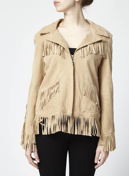 Doma SALE - LEATHER COAT WITH FRINGES - NEW