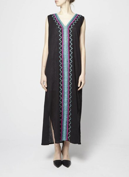 Ella Moss BLACK LONG DRESS WITH TURQUOISE AND PINK EMBROIDERY