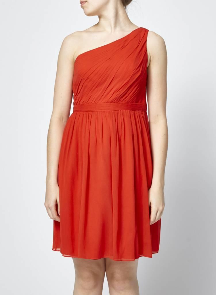 J.Crew Red Asymmetric Silk Dress