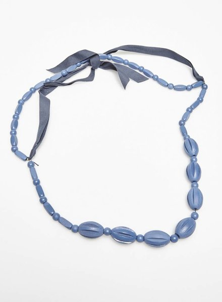 Marina Rinaldi BLUE WOODEN BEADS LONG NECKLACE