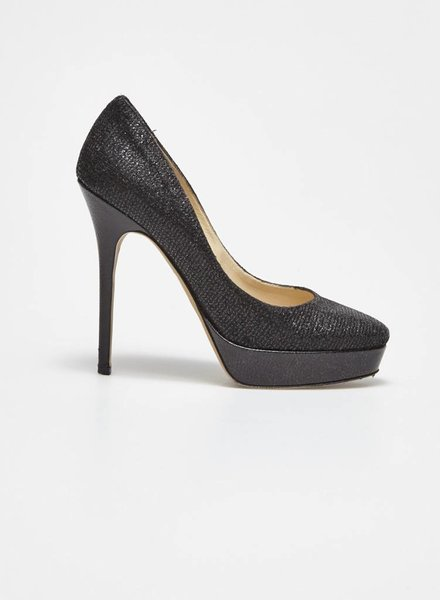 Jimmy Choo ON SALE - BLACK GLITTER LEATHER PUMPS