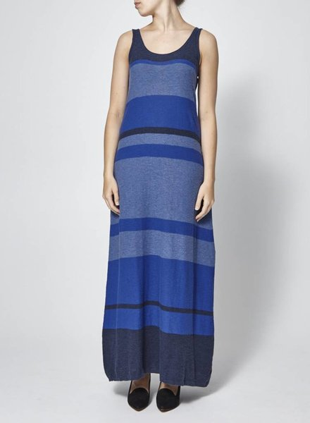 Vince LONG BLUE STRIPED DRESS