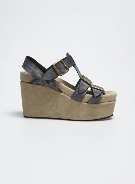 Jeffrey Campbell BEIGE WEDGE SANDALS AND DARK GRAY LEATHER LOOPS