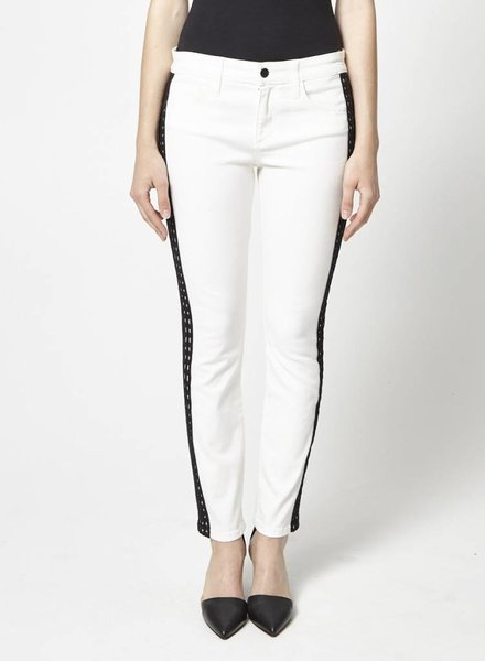 WHITE SKINNY JEANS WITH BLACK BEADED STRAP - NEW