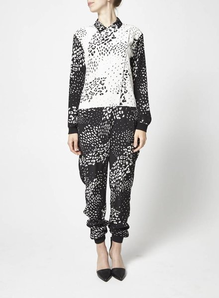 Tibi ON SALE - BLACK AND WHITE SILK SPECKLED JUMPSUIT - NEW