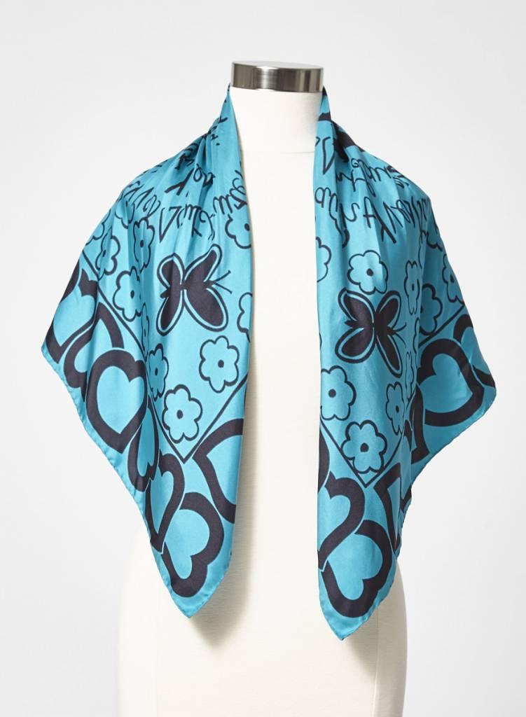 Yves Saint Laurent Carré de soie turquoise à imprimé de coeurs et fleurs