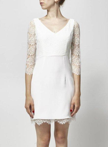 Lorafolk pour Monoprix WHITE SILK AND LACE DRESS