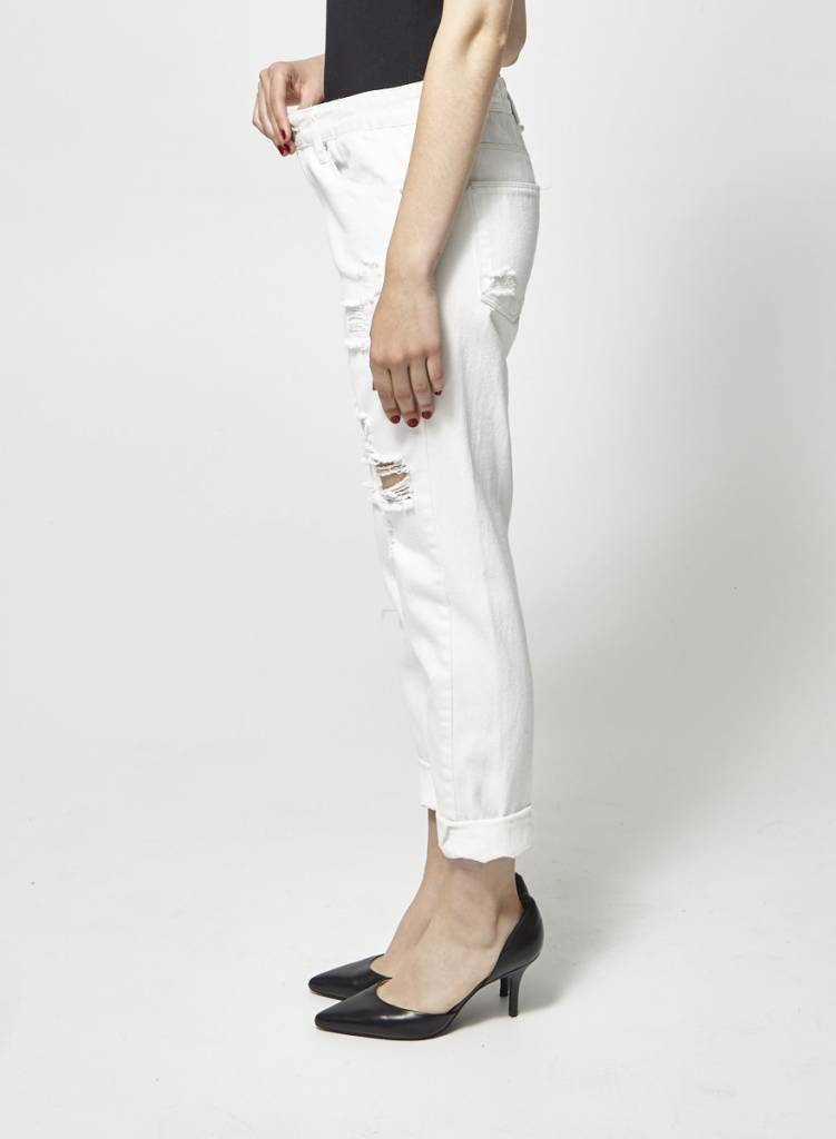 RES Denim White Cropped and Ripped Jeans