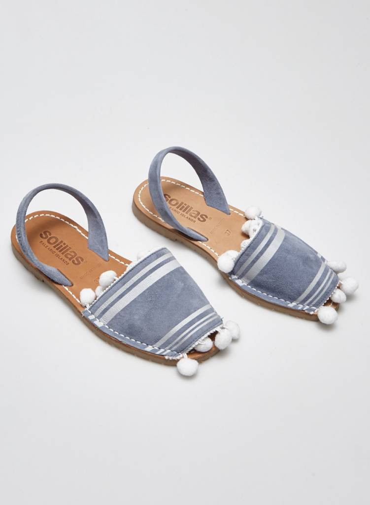 Solillas Light Blue Suede Sandals with Tassels - New