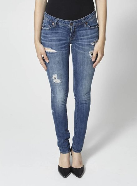 BLUE SKINNY RIPPED JEANS WITH SEQUINS
