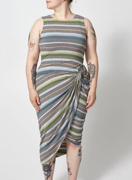 Bailey44 ON SALE - GRAY STRIPED DRESS TIED AT THE SIDE