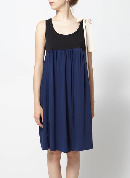 Sonia by Sonia Rykiel SALE - BLACK AND NAVY BLUE DRESS KNOTTED AT THE SHOULDER