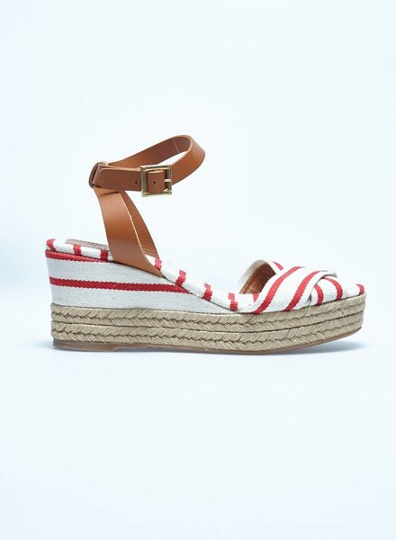 Tory Burch SALE - CANVAS WHITE AND RED WEDGE HEELS