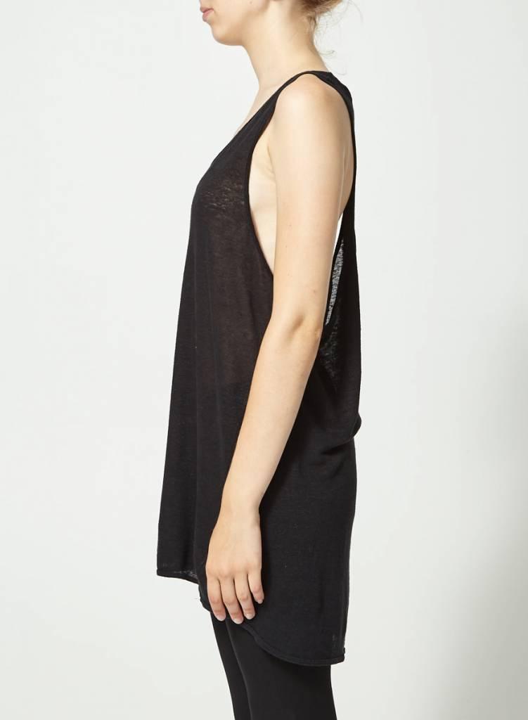 Travis Taddeo Solde - Camisole longue noire en lin