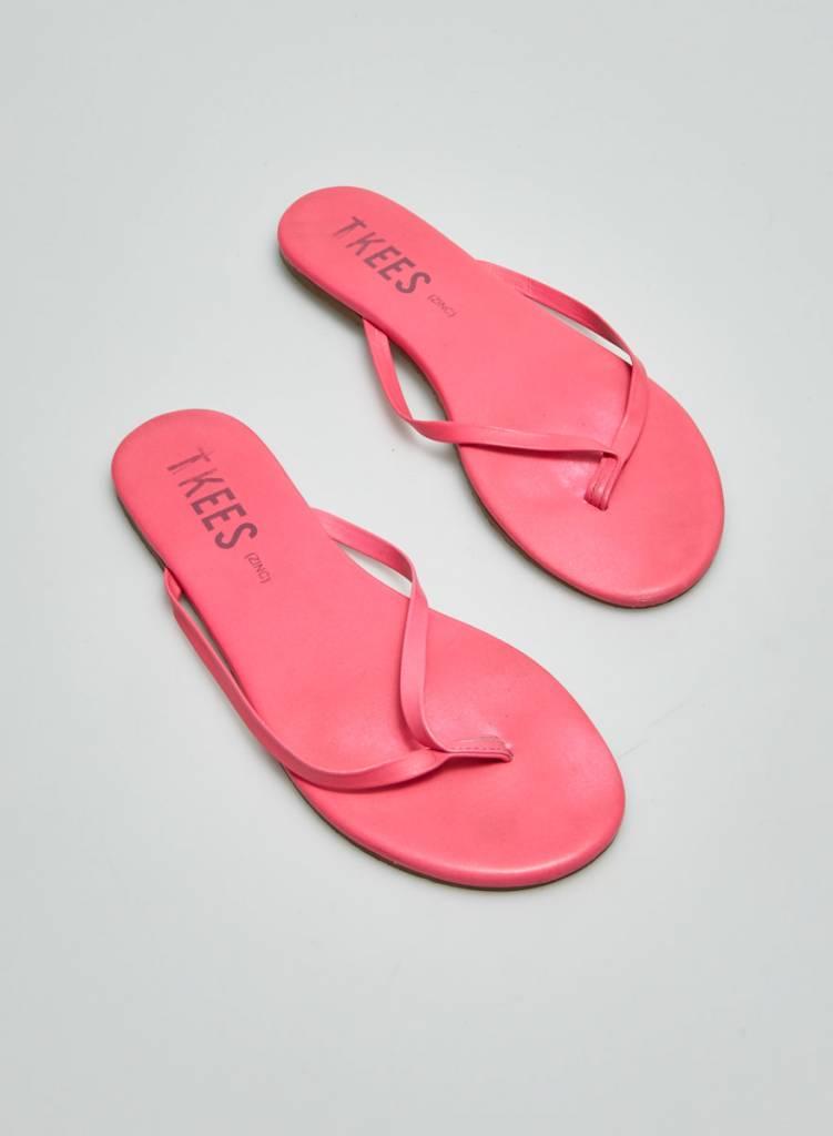 TKEES Sandale en cuir rose fluo