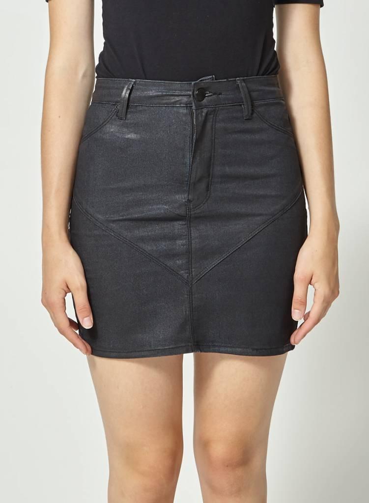 RES Denim Jupe noire en jeans effet lustré
