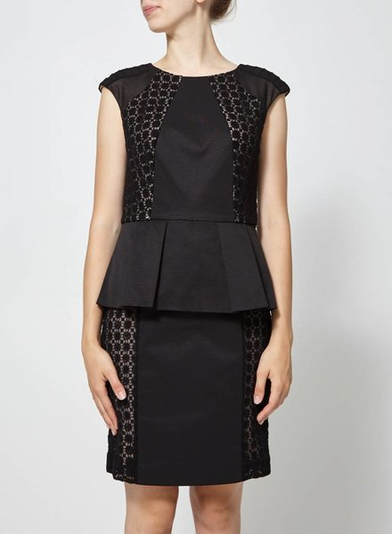 BLACK PEPLUM DRESS WITH LACE