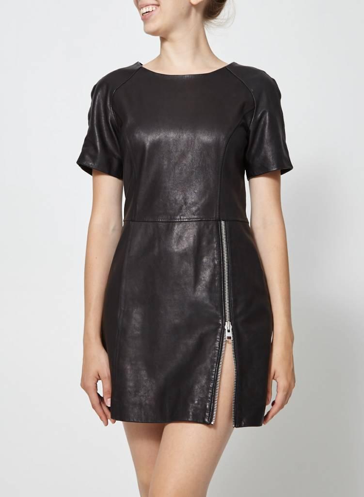 AllSaints Robe courte noire en cuir